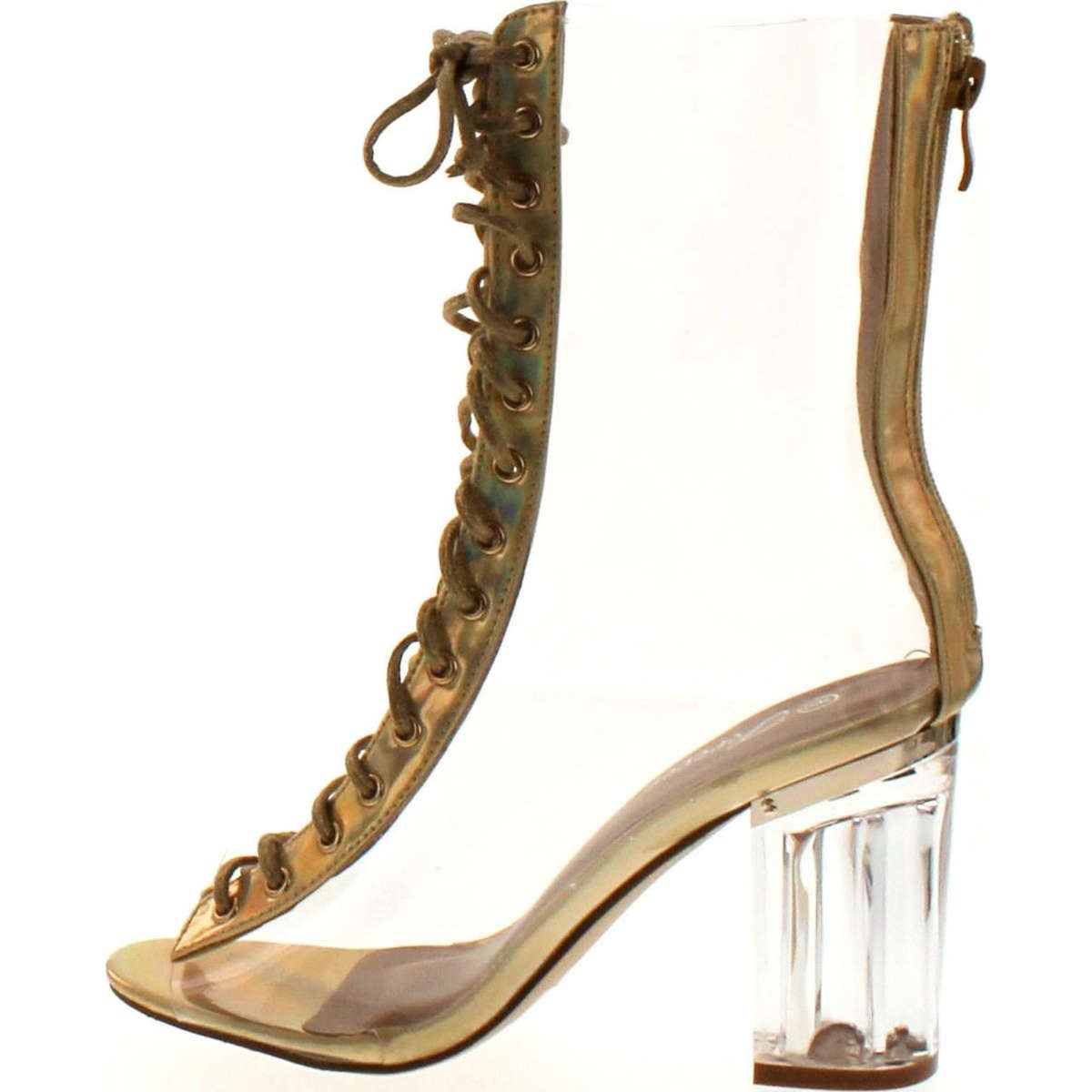 2d5d29ac6 Shop Forever Clear-45 Above Ankle Clear Peep Toe Lace Up Boots & Perspex  Plexiglas Block Heel - Free Shipping On Orders Over $45 - Overstock -  14948109