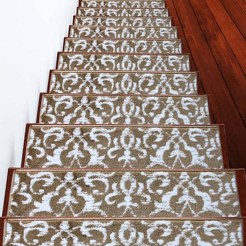 """SUSSEXHOME Floral Collection Stair Treads Polypropylene 9""""x28"""""""