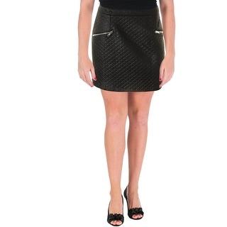 Aqua Womens Juniors Quilted Faux Zip Pocket Mini Skirt - L