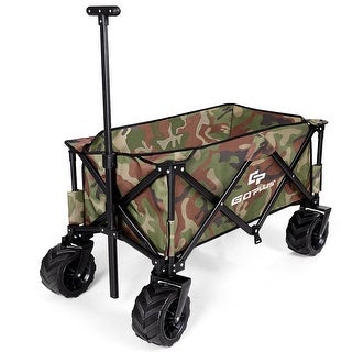 Collapsible Outdoor Utility Garden Trolley Folding Wagon-Camouflage