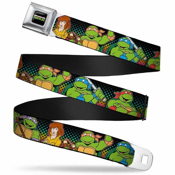 Classic Tmnt Logo2 Full Color Classic Tmnt Logo2 Turtles & April Pose Seatbelt Belt