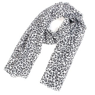 Unique Bargains Women Lady Chiffon Leopard Print Dual-use Wrap Stole Shawl Scarf