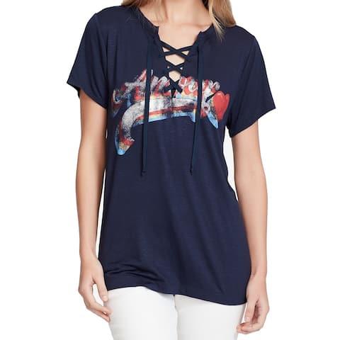 Jessica Simpson Junior Blue Size Large L Amour Graphic Lace Up Blouse