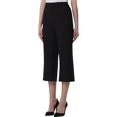 Tahari ASL Womens Petites Capri Pants Ruffled High Rise - Black - 00P