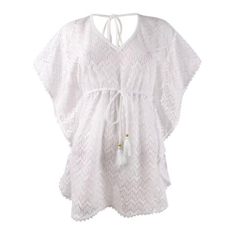Miken Women's Plus Size Crochet Caftan Swim Top Cover-Up