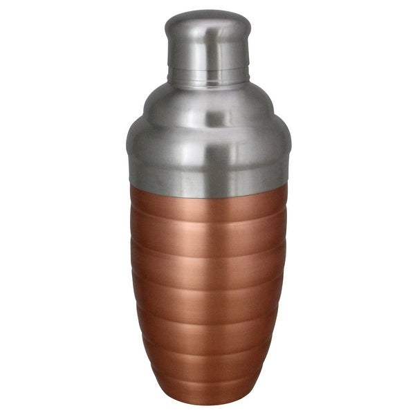 Copper Finished Ribbed Stainless Steel Martini Cocktail Shaker 17oz. Opens flyout.
