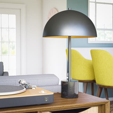 """Basso Table Lamp Black Finish with Gold Painted Shade Interior - 16"""" x 26"""""""