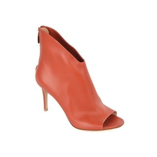 Gianvito Rossi Womens Orange Leather High Vamp Peep Toe Booties