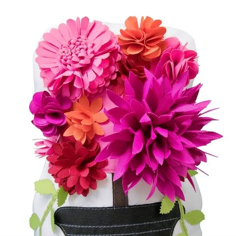 Edie at Home Outdoor Floral Bouquet Door Stopper, Fuchsia/Magenta
