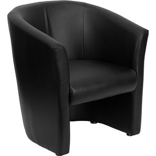 Offex Black Leather Barrel-Shaped Guest Chair [OF-GO-S-01-BK-QTR-GG]