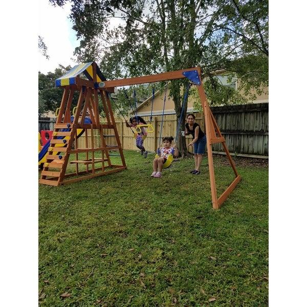 Shop Backyard Discovery Yukon Iii All Cedar Wood Swingset Free