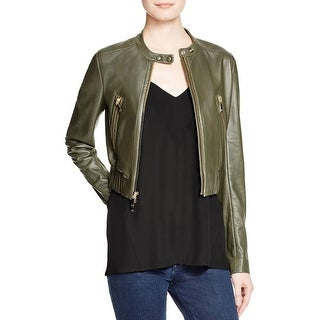 Diane Von Furstenberg Womens Buckley Motorcycle Jacket Leather Cropped - p