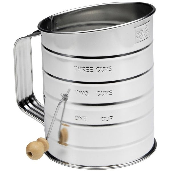 Good Cook 24302 Tin Sifter With Hand Crank, 3 Cup Tin