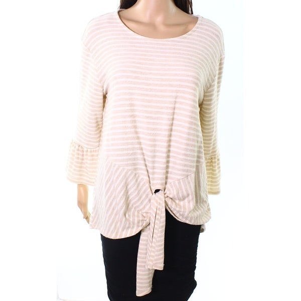 Gibson Tan White Womens Large Tie-Hem Striped Blouse