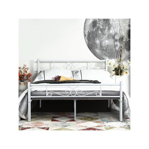 Queen size Metal Bed Frame Platform Mattress Foundation Headboard Bedroom Furniture-white/black