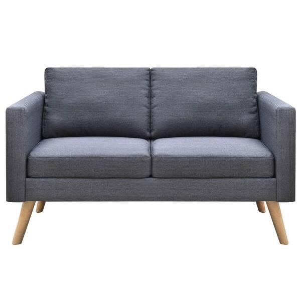 Admirable Shop Vidaxl 2 Seater Sofa Fabric Dark Gray Free Shipping Spiritservingveterans Wood Chair Design Ideas Spiritservingveteransorg