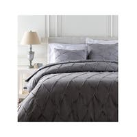 Diamond Elegance Metal and Pewter Gray Three Piece Full/ Queen Duvet Cover Set