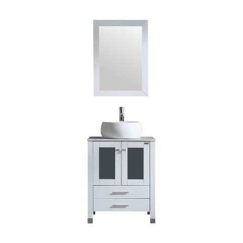 24-inch White Modern Bathroom Cabinet with Top and Vessel Sink and mirror
