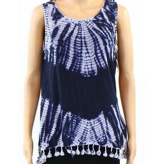 Redhaute NEW Blue Womens Size Medium M Tassle-Hem Tie-Dye Tank Top