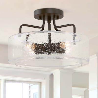 Farmhouse Glass Metal Semi-flush Mount Ceiling Lights