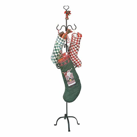 "Christmas Stocking Holder Freestanding Black Wrought Iron Heart Top 6 Hooks 60"" Height Renovators Supply"