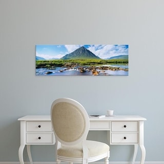 Easy Art Prints Panoramic Image 'Mountains, Buachaille Etive Mor, Rannoch Moor, Highlands, Scotland' Canvas Art
