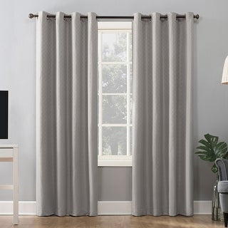 Link to Sun Zero Kenji Woven Scalloped Theater Grade Extreme 100% Total Blackout Grommet Curtain Panel Similar Items in As Is