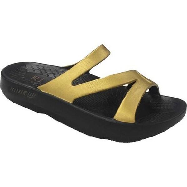 1cbcb48f398f Shop Island Surf Co. Coral Strappy Slide Black Gold Foam - Free ...