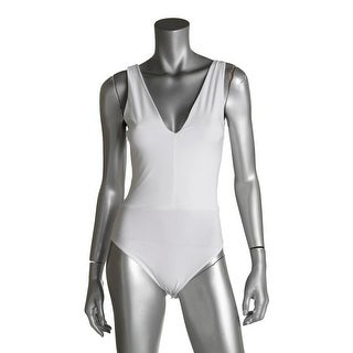 Aqua Womens Bodysuit Lace Back Deep V-Neck