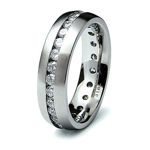 Stainless Steel Ring with CZ (Sizes 8-12)