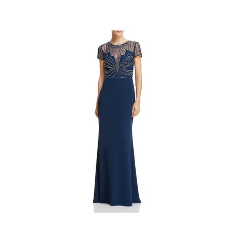 Adrianna Papell Womens Formal Dress Embellished Illusion