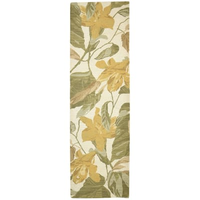 """One of a Kind Hand-Tufted Modern & Contemporary 10' Runner Floral & Botanical Wool Green Rug - 2'6""""x8'8"""""""