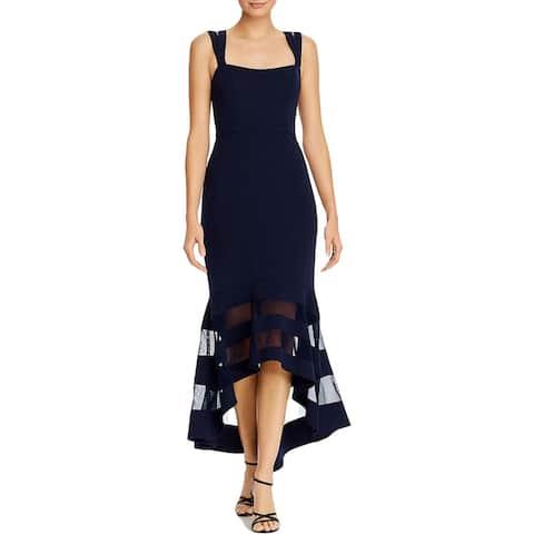 Aqua Womens Formal Dress Illusion Hem Hi-Low - Navy