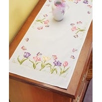 """Tulip Garden - Stamped Embroidery Dresser Scarf 14""""X35"""""""