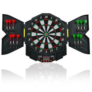 Costway Professional Electronic Dartboard Cabinet Set w/ 12 Darts Game Room LED Display - Black