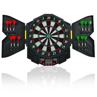 Costway Professional Electronic Dartboard Cabinet Set w/ 12 Darts Game Room LED Display
