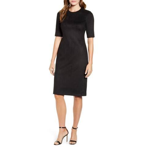 ANNE KLEIN Black Short Sleeve Knee Length Dress 8