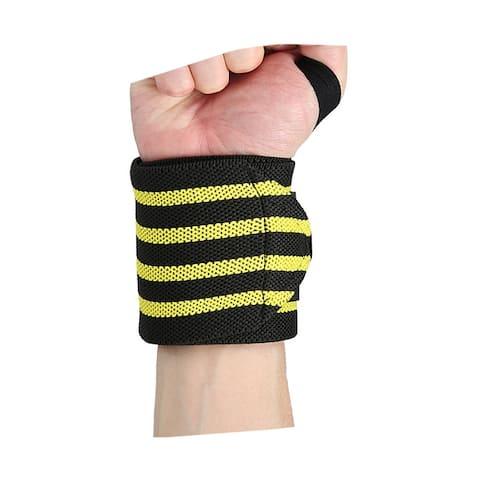 Unisex Striped Hook Loop Closure Brace Sport Wristband Yellow One Size