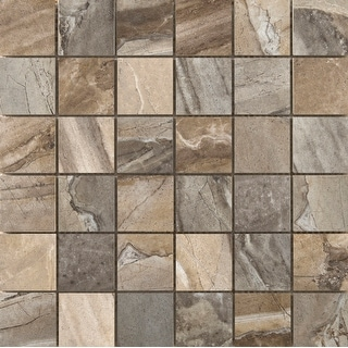 "Emser Tile F02EURA-1313MOB  Eurasia - 2"" x 2"" Square Mosaic Floor and Wall Tile - Unpolished Stone Visual - Eurasia Multicolor"