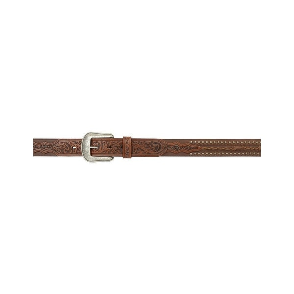3D Belt Mens Western Leather Barbed Floral Tooled Billet Brown