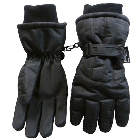 NICE CAPS Men's Thinsulate and Waterproof Cold Weather Ski Glove with Ridges - black solid