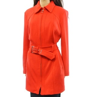 INC NEW Cherry Red Solid Women's Size XL Full Zip Belted Knit Coat