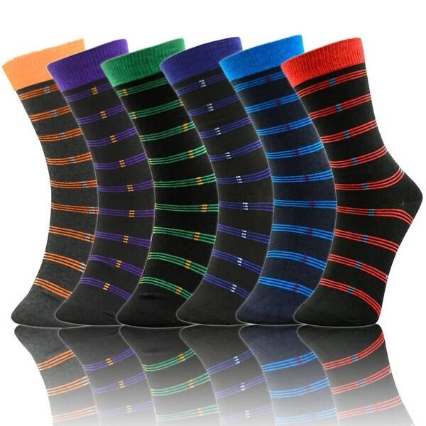 Men's 6 Pairs Stripes Colorful Patterned Dress Socks (Size 10-13)