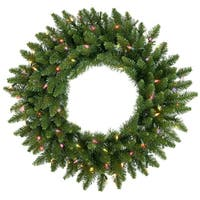 "48"" Pre-Lit Camdon Fir Artificial Christmas Wreath - Multi Dura Lights"