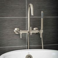 Pelham & White Luxury Tub Filler Faucet, Modern Design, Wall Mount Installation, Lever Handles, Brus