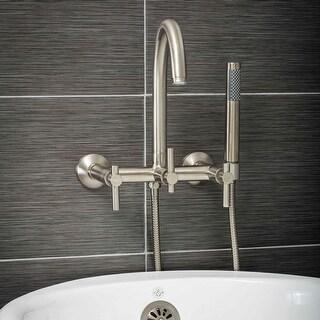 Pelham & White Luxury Tub Filler Faucet, Modern Design, Wall Mount Installation, Lever Handles, Brus