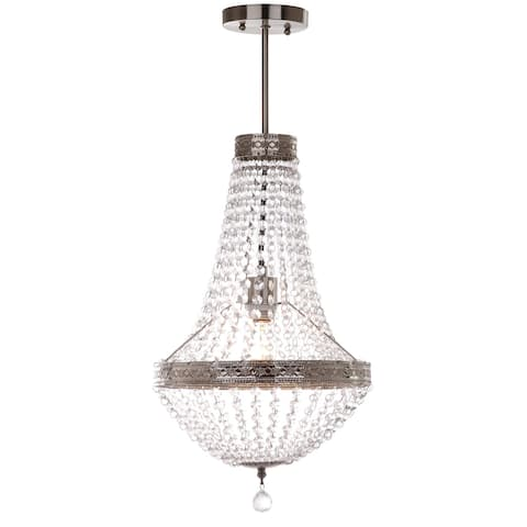 "Safavieh Lighting Shirley Grand 1-light Nickle/ Clear Pendant Lamp - 11.75""x11.75""x26.25"""