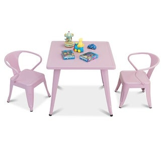 Gymax 3 Pcs Kids Dining Set Square Table & 2 Armchairs Play Learn Activity Home