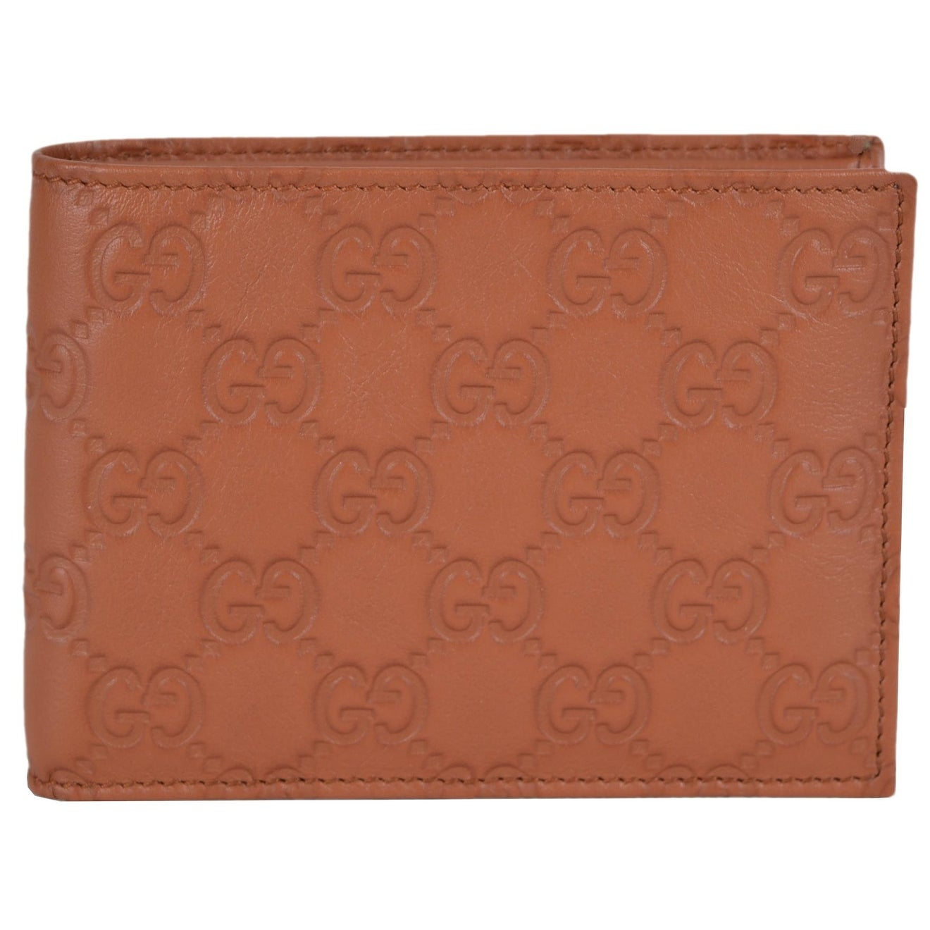 Gucci 278596 Men's Saffron Tan Leather GG Guccissima Bifold Wallet - Thumbnail 0
