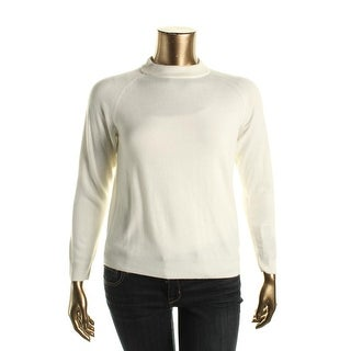 Karen Scott Womens Ribbed Trim Raglan Sleeves Mock Sweater